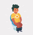 boy sitting on the toilet vector image vector image