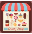 Candy shop background with candy sweets and cakes vector image