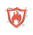 cartoon fire warning shield sign icon in comic vector image