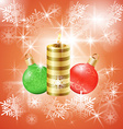 Christmas background with candle and balls vector image