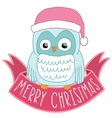 Christmas owl in Santa hat with ribbon vector image vector image