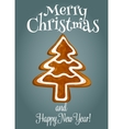 Christmas tree made of gingerbread greeting card vector image