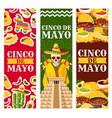 cinco de mayo mexican greeting banners vector image vector image