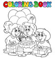 coloring book with party theme 2 vector image vector image