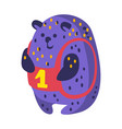 Cute cartoon indigo blue teddy bear with number vector image