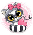 cute cartoon raccoon with heart vector image vector image