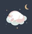 cute magical unicorn on a cloud in pastel colours vector image