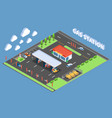 gas station isometric composition vector image vector image