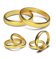 golden rings isolated on white background vector image vector image