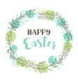 green easter floral frame vector image vector image