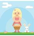 Happy girl bunny basket easter egg icon sky vector image vector image