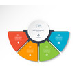 infographic semi circle template with 4 options vector image