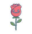 kawaii smiling goofy rose flower vector image vector image