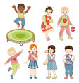kids boys and girls sing dance eat cake jump vector image