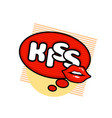 kiss label sticker a kiss a message red lips vector image