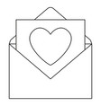line art black and white open love message vector image