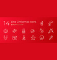 linear set holiday christmas icons vector image vector image