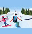 man taking selfie photo snowboarders skiers people vector image vector image