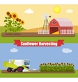 Modern combine harvester tractor working a vector image vector image