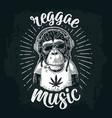 monkey hipster with dreadlocks in headphones vector image