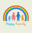 my family under the rainbow vector image vector image