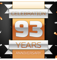 Ninety three years anniversary celebration golden vector image vector image