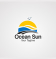 ocean sun logo icon element and template for vector image
