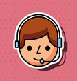 operator cartoon with headset customer service vector image vector image