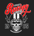 outlaw racing emblem template with skull in racer vector image vector image