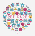 pet care concept in circle with thin line icons vector image vector image