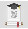 photo frame graduation hat vector image