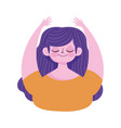 portrait cartoon girl hands up isolated icon vector image vector image
