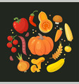 red orange and yellow vegetables in circle vector image vector image