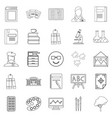 research icons set outline style vector image vector image