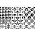 seamless floral black and white backgrounds set vector image