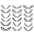 set hand drawn floral wreaths vector image vector image