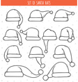Set of 12 monochrome doodle hats Santa Claus vector image vector image