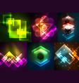 set of dark abstract backgrounds with glowing vector image