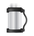 Silver thermos flask on a white background vector image vector image