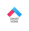 smart home logo red and blue vector image