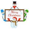 snowmen with signboard vector image