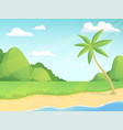 summer landscape green hills palm tree vector image vector image