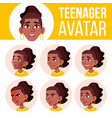 teen girl avatar set black afro american vector image vector image