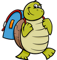 turtle with satchel cartoon vector image vector image
