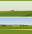 two green landscape with yellow fields vector image vector image