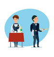 waiters spill drinks carry sweets in clothes vector image