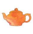 watercolor hand drawn teapot vector image vector image