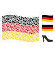 waving german flag mosaic of lady shoe items vector image