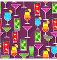 Flat style seamless pattern cocktail background vector image