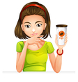 A woman holding a glass of coffee vector image vector image